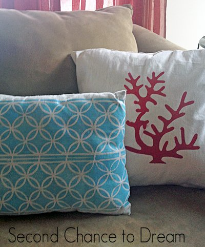 finished stenciled coral pillow