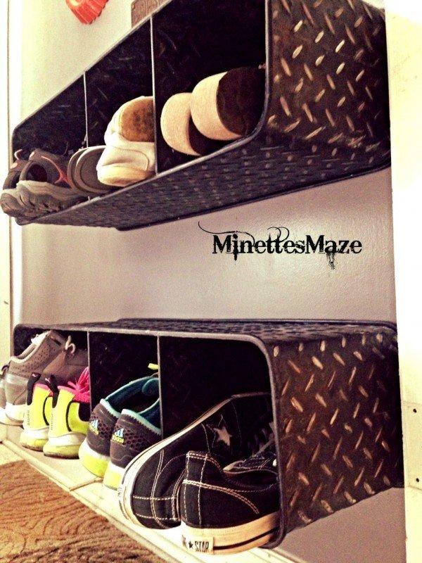 shoe storage ideas - metal cubby shelf for shoes, Minette's Maze