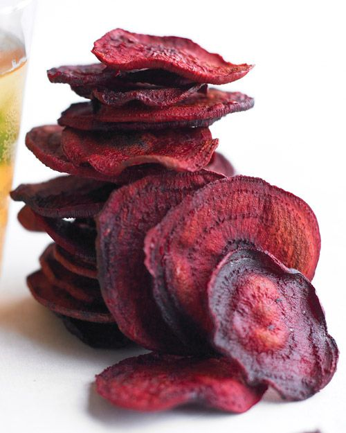 I should try this. Beet chips! Super easy. Just thinly sliced beets and baked at 350 for 10-20 minutes.