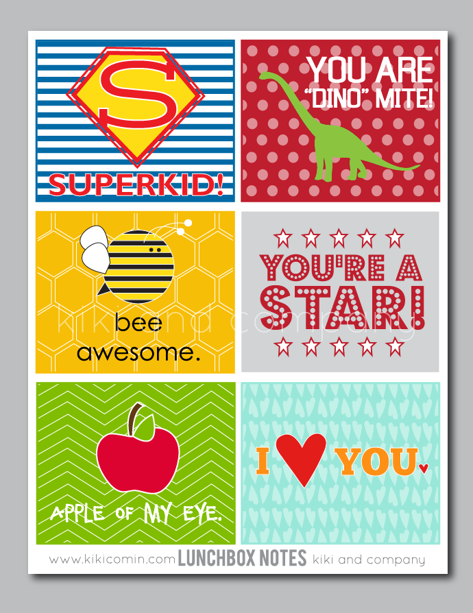 Printable Lunch Box Notes by kikicomin.com on TodaysCreativeBlog.net