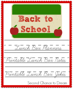 Back to School Printable Lunch Box Planners, Notes & Jokes