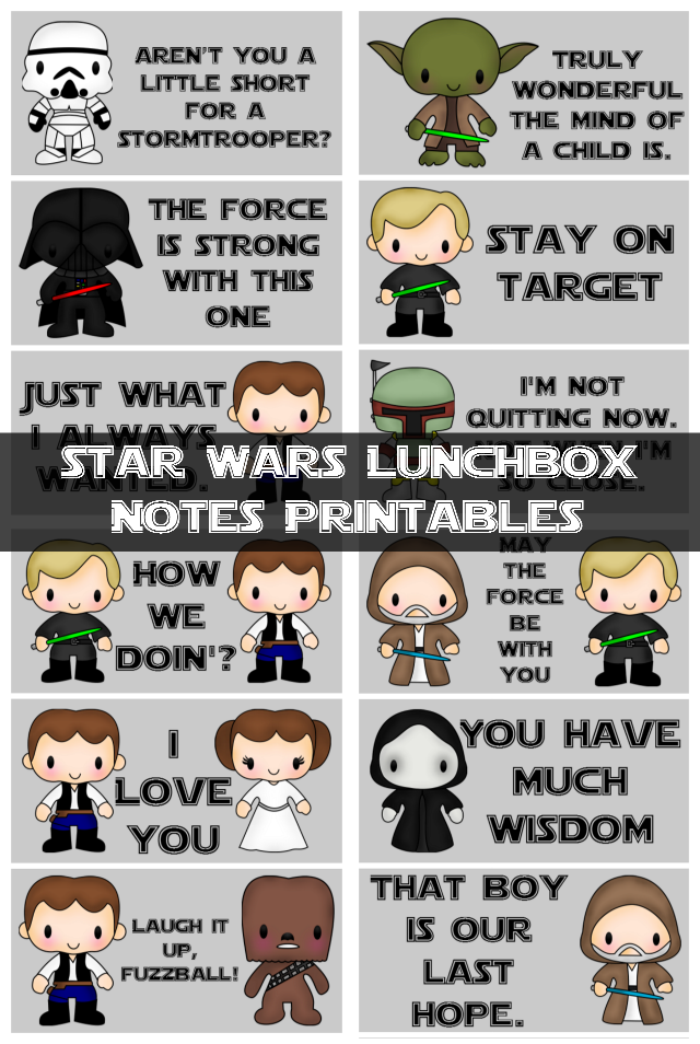 Star Wars Lunchbox Notes Printables - My Sweet Sanity #backtoschool #freeprintables