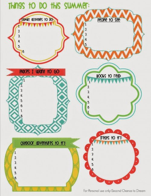 Second Chance to Dream:  Summer Goal Printable
