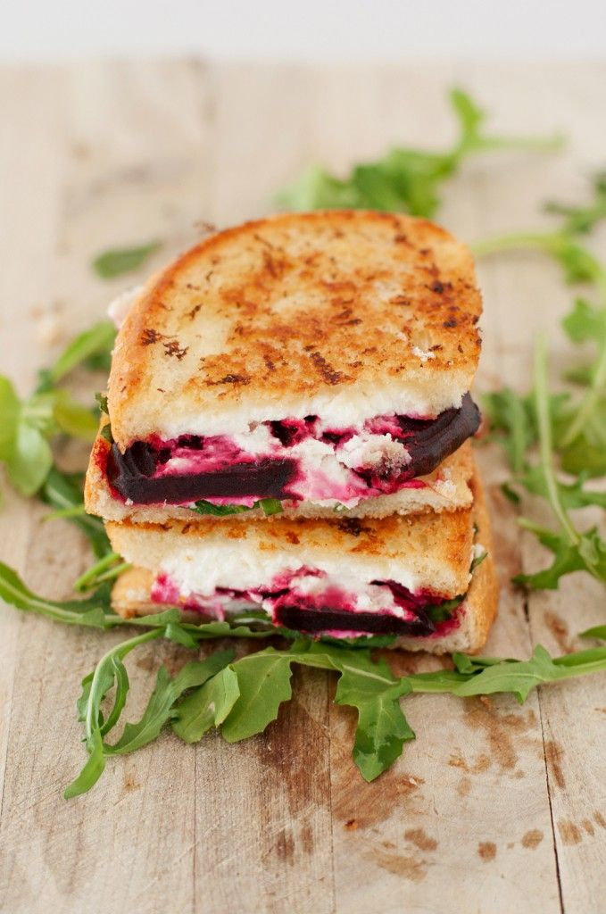 Beet, Goat Cheese & Arugula Grilled Cheese. Use Udi's GF Bread!