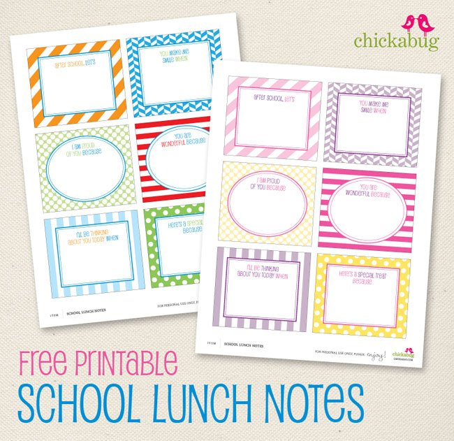 FREE printable school lunch notes from Chickabug