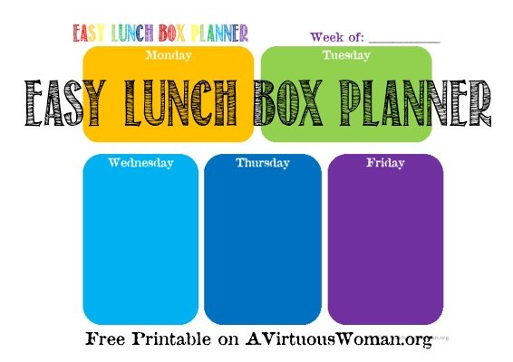 Easy Lunch Box Planner {Free Printable} | A Virtuous Woman #EasyLunchBoxes