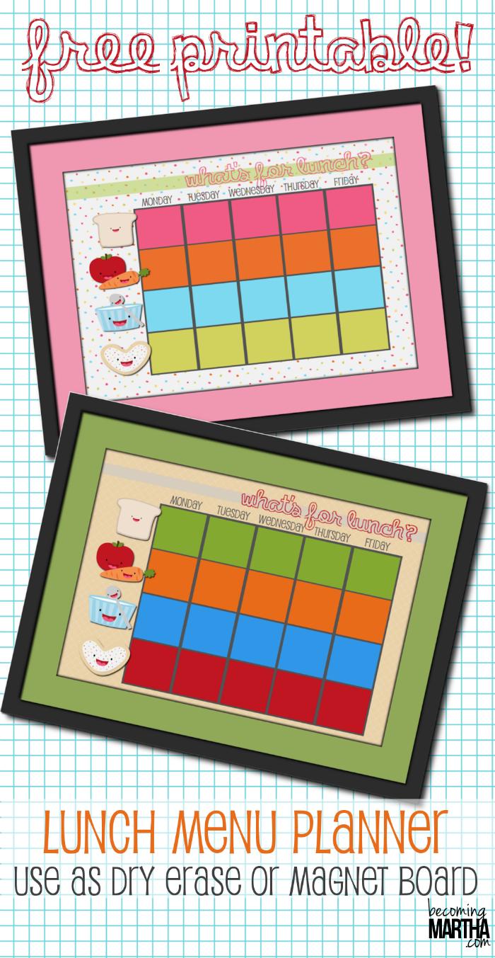 Free Printable School Lunch Planner