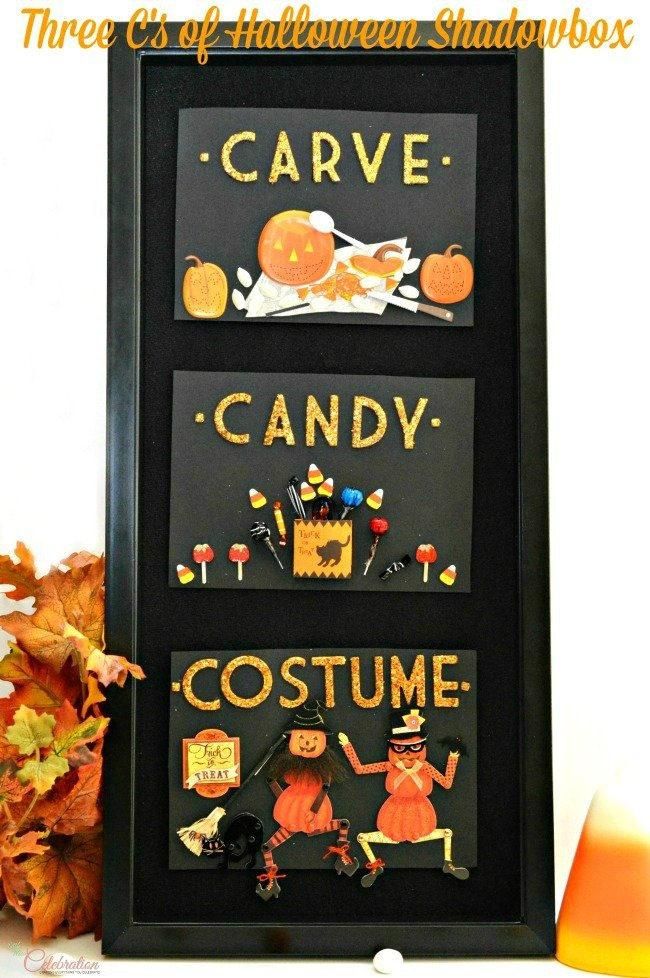 Halloween goes vertical! Celebrate the Three C's of Halloween-carve, candy & costume - in this fun and adorable shadowbox wall art. From littlemisscelebration.com