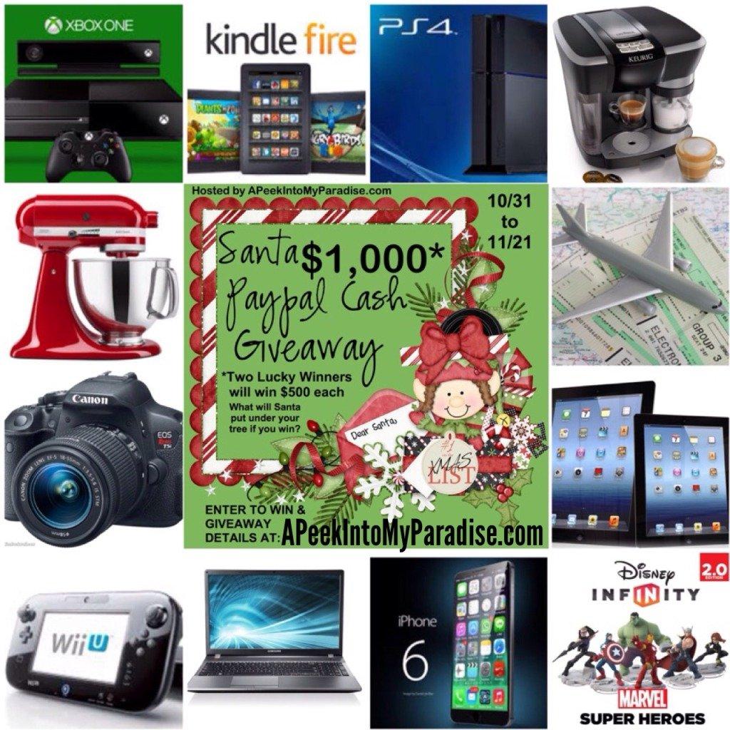 Santa Paypal Cash Giveaway | APeekIntoMyParadise.com
