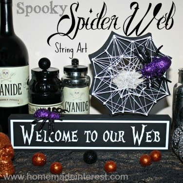 Our spooky Spider Web String Art is the perfect addition to your Halloween decor.#halloween #spiderweb #halloweendecor {www.homemadeinterest.com}