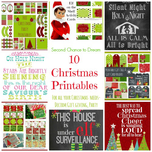 Second Chance to Dream: 10 Christmas Printables #elfontheshelf #giftgiving #christmasdecor