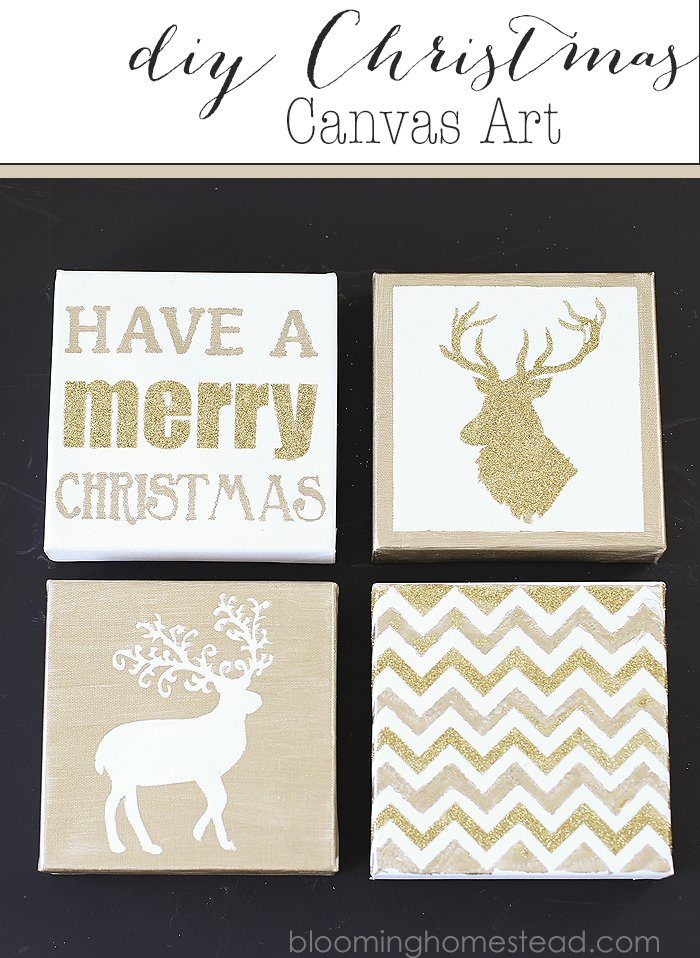 Easy and fun DIY Christmas Canvas Art by Blooming Homestead |diy| Christmas | home decor |canvas |art
