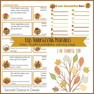 Second Chance to Dream: Kids Thanksgiving Printables