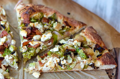 bacon, brussels sprouts and goat cheese pizza