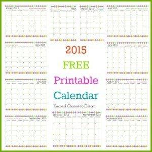 Second Chance to Dream: 2015 Free Prntable Calendar #2015