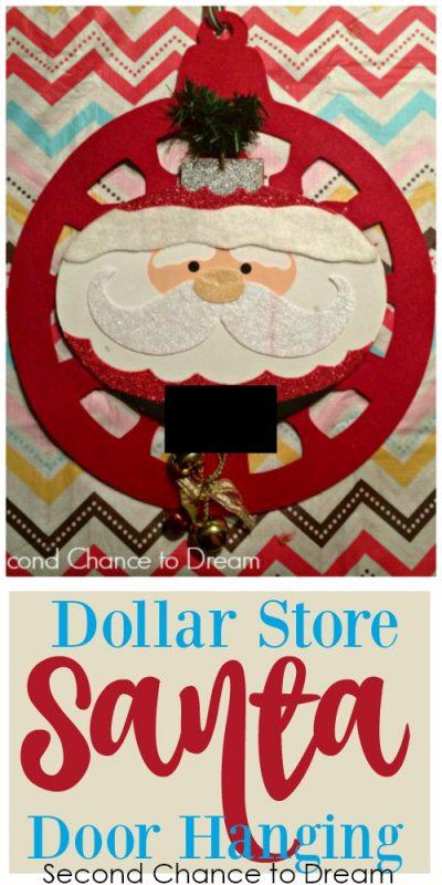 Second Chance to Dream: Dollar Store Santa Door Hanging #Dollarstore #DIY #Christmasdecor #christmas