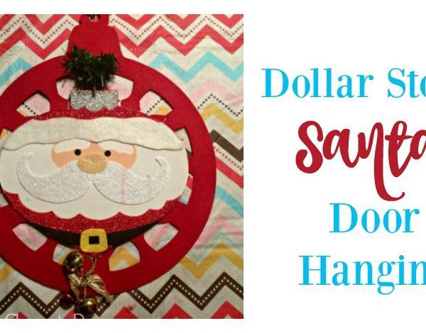 Second Chance to Dream: Dollar Store Santa Door Hanging #dollarstore #christmas