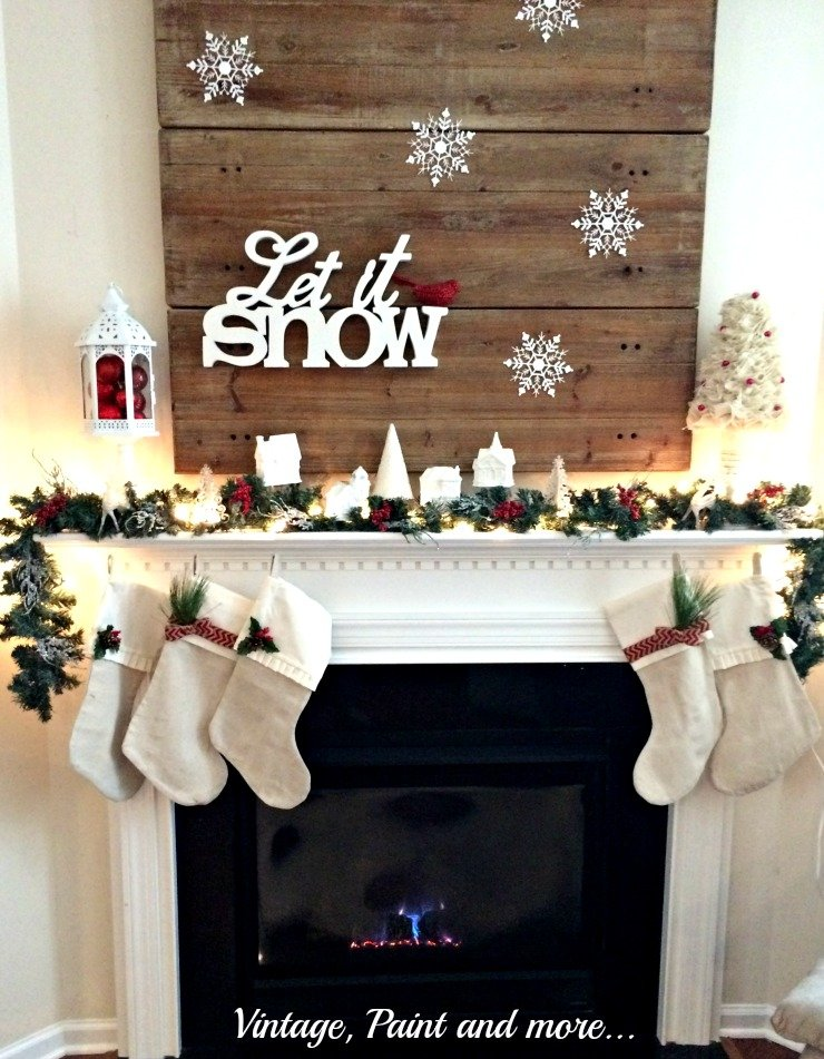 Vintage, Paint and more... Christmas mantel with white snow and pops of red color