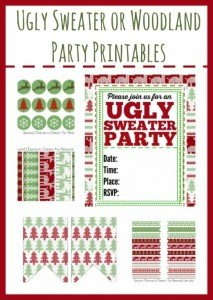 Ugly Sweater or Woodland Party Printables