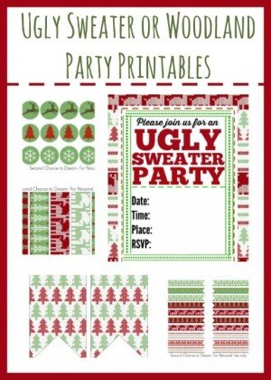 Second Chance to Dream; Ugley Sweater or Woodland Party Printables #uglysweater