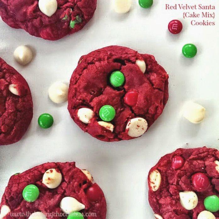 Red Velvet Santa {Cake Mix} Cookies – The Baking ChocolaTess