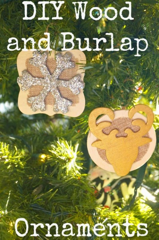 DIY Wood and Burlap Ornaments