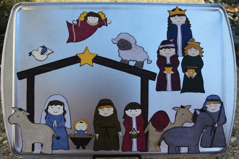 It's really easy and the kids can even make them with you! . Free tutorial with pictures on how to make a nativity scene in under 40 minutes by decorating and papercrafting with scissors, decoupage glue, and printer. Inspired by christmas. How To posted by Julie S. Difficulty: Simple. Cost: Cheap. Steps: 7