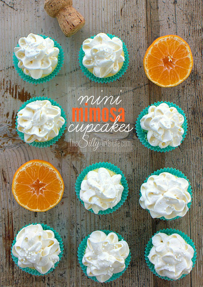 Mini Mimosa Cupcakes, bite sized cupcakes infused with fresh squeezed mandarin orange juice and topped with fluffy champagne buttercream frosting! - ThisSillyGirlsLife.com #HalosFun #ad