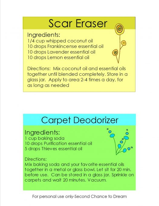 Second Chance To Dream Printable Essential Oil Recipe Cards