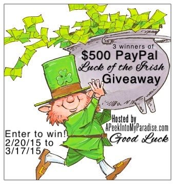 Luck of the Irish Giveaway | APeekIntoMyParadise.com #giveaway  #paypalcash #win
