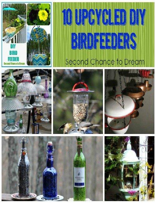 Second Chance to Dream: 10 Upcycled DIY Birdfeeders #birdfeeders #upcycle