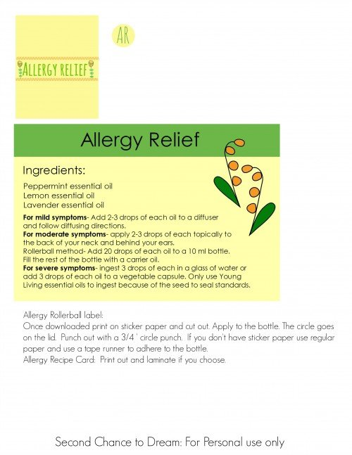 Second Chance to Dream:  Allergy relief label & recipe