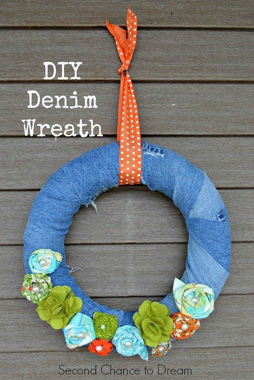 Second Chance to Dream: DIY Denim Wreath