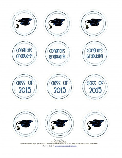 Graduation Cupcake toppers='1' 5blue