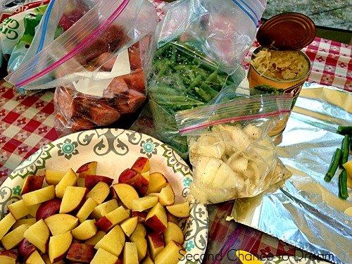 Foil dinner ingredients