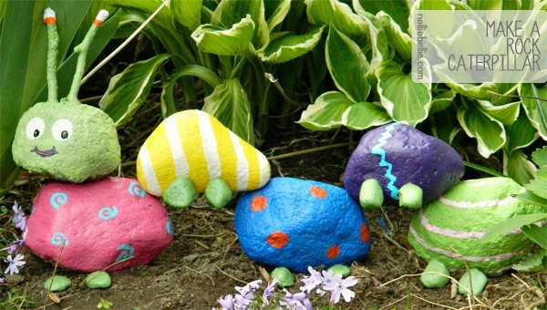 how to make a garden rock caterpillar! This is a super adorable and simple craft to do with kids.