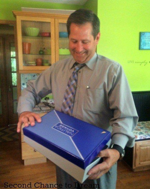 Jim opening Nautica gift set