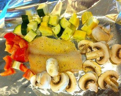 Prepping Tin Foil Dinner - Lemon Herb Tilapia with Veggies