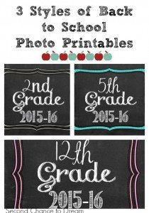 2015-16 Back to School Photo Printables
