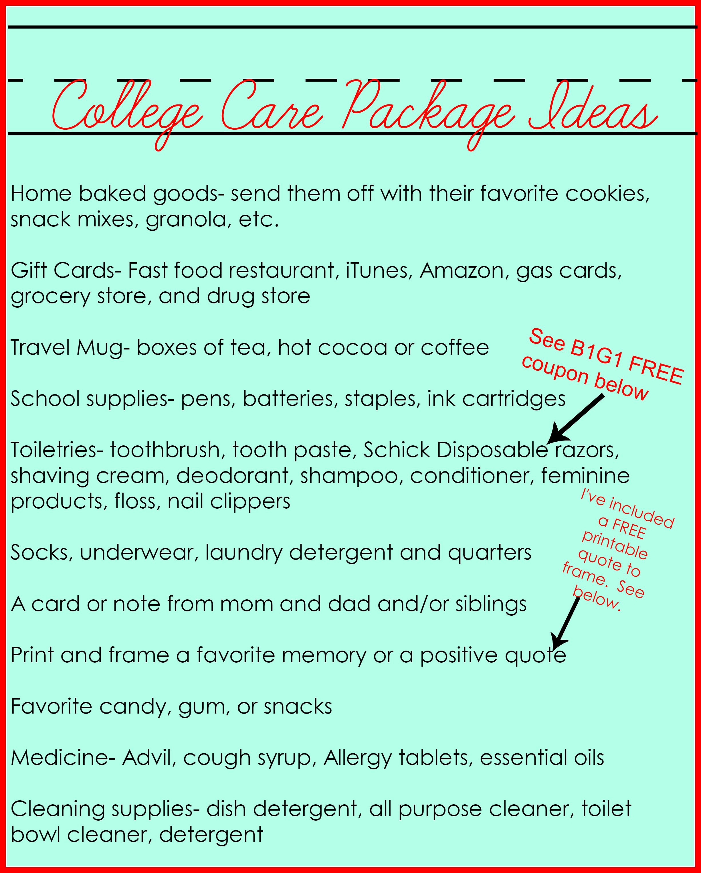 Second Chance to Dream: College Care Package Ideas