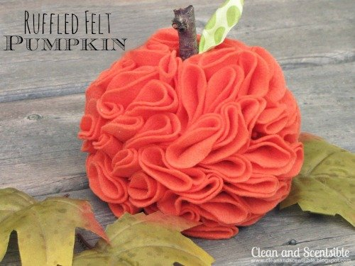 Ruffled felt pumpkin.