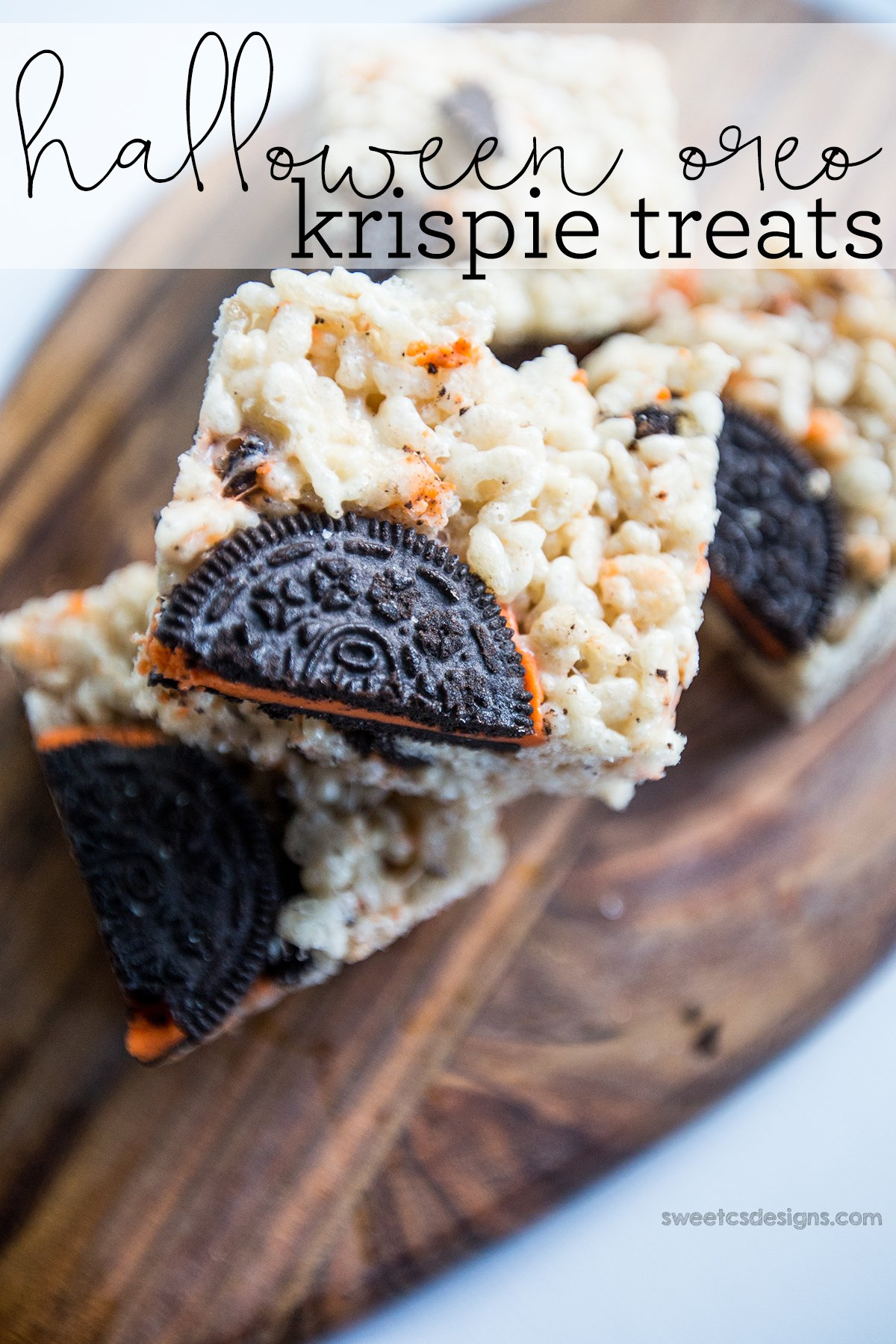 these are so delicious and fun- halloween oreo krispie treats!