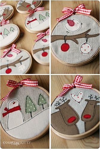 christmas embroidery hoops: