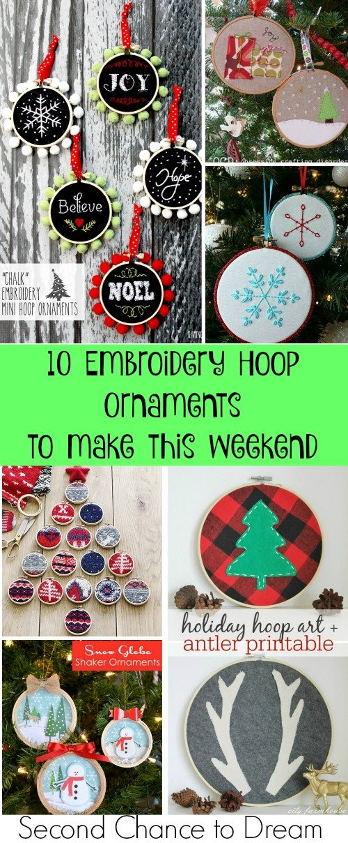 Second Chance to Dream: 10 Embroidery Hoop Ornaments