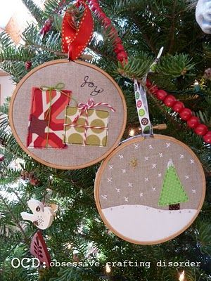 Cute embroidery hoop ornaments: