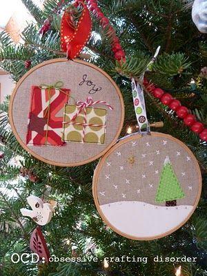 Cute embroidery hoop ornaments: