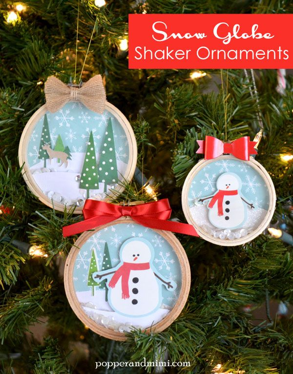 Embroidery Hoop Snow Globe Shaker Ornaments: