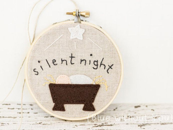 Baby's first Christmas gift idea: Beautiful embroidery hoop ornament on Etsy: