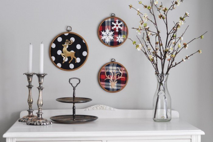 Deer Embroidery Hoop Christmas Wall Art With Sizzix-10