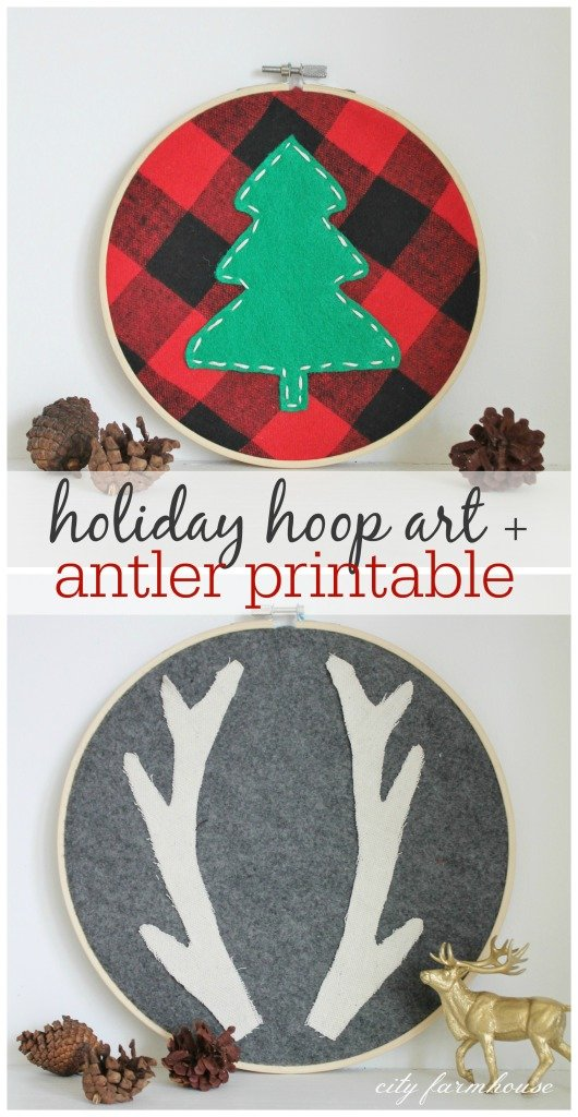 Holiday Hoop Art & Antler Printable